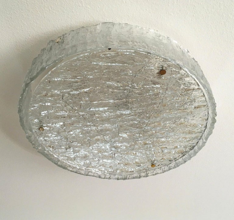 Drum Shaped Glass Flush Mount by Kaiser, Germany, 1960 For Sale 2