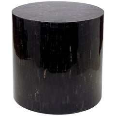 Drum Stool / Table Made with Horn Marquetry, Serenity