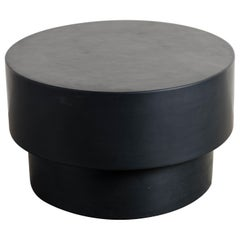 Drum Table, Black Lacquer by Robert Kuo, Handmade, Limited Edition