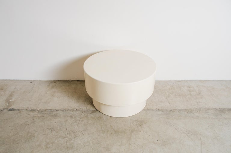 Repoussé Drum Table, Cream Lacquer by Robert Kuo, Handmade, Limited Edition For Sale