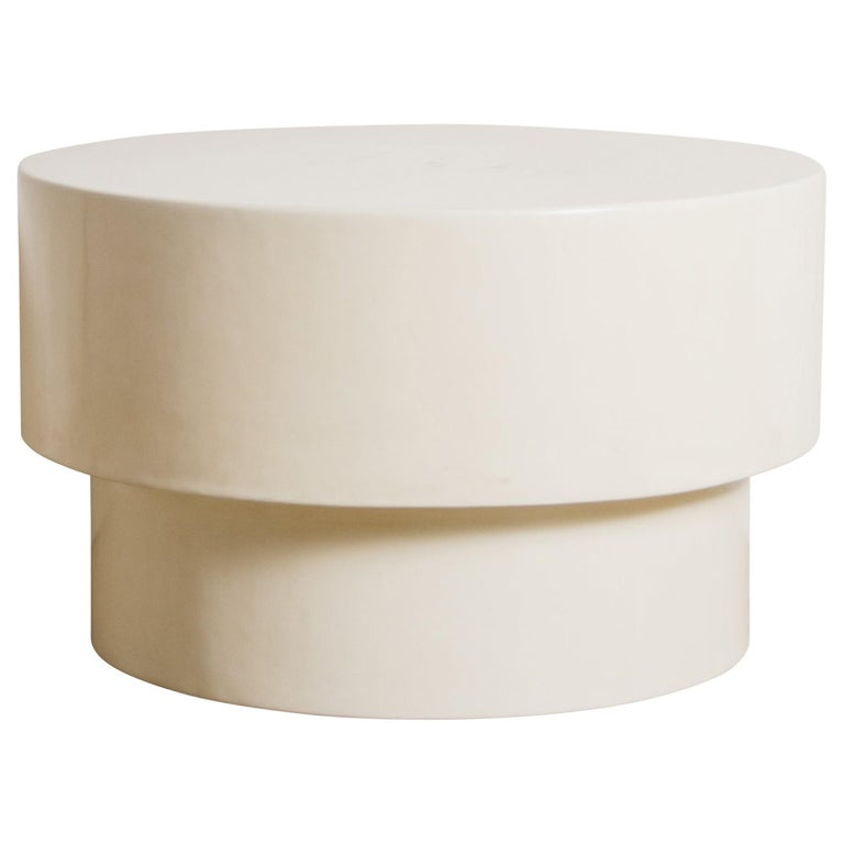 Drum Table, Cream Lacquer by Robert Kuo, Handmade, Limited Edition For Sale