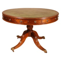 Drum Table In Mahogany Stamped Gillows, 19th Century