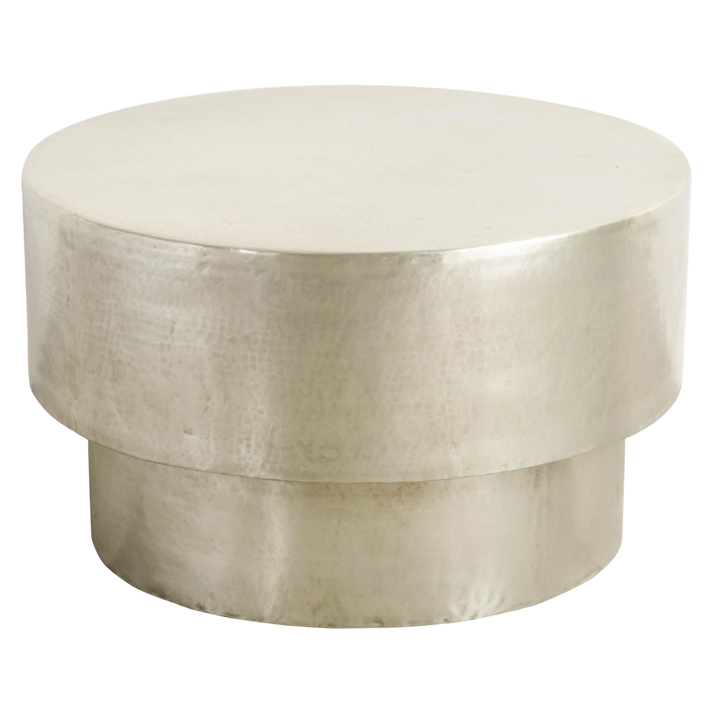 Drum Table in White Bronze by Robert Kuo, Limited Edition