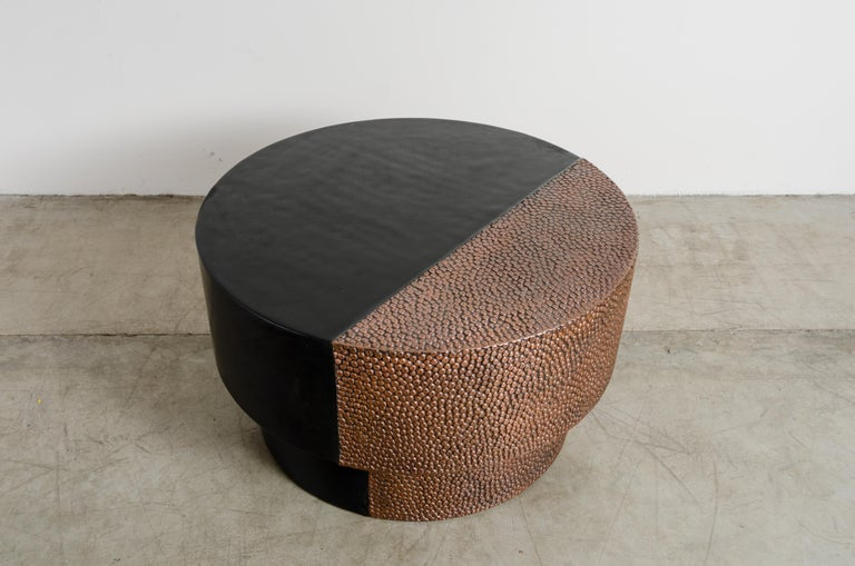 Repoussé Drum Table with Toad Skin Design, Copper and Black Lacquer by Robert Kuo For Sale