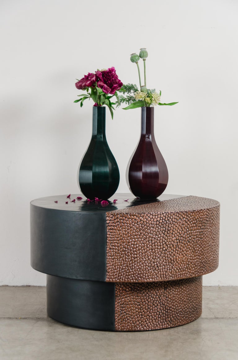 Contemporary Drum Table with Toad Skin Design, Copper and Black Lacquer by Robert Kuo For Sale