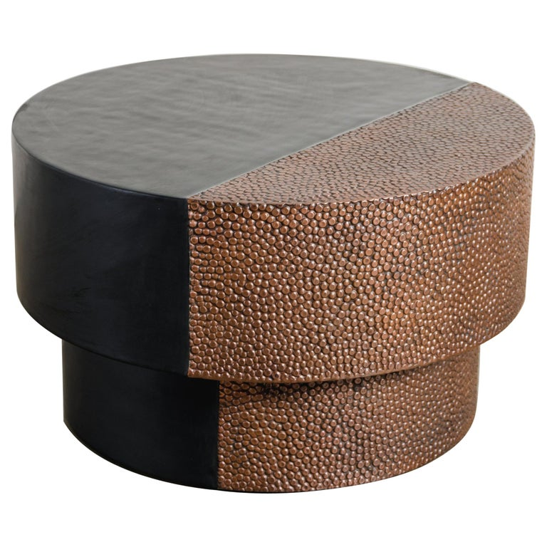 Drum Table with Toad Skin Design, Copper and Black Lacquer by Robert Kuo For Sale