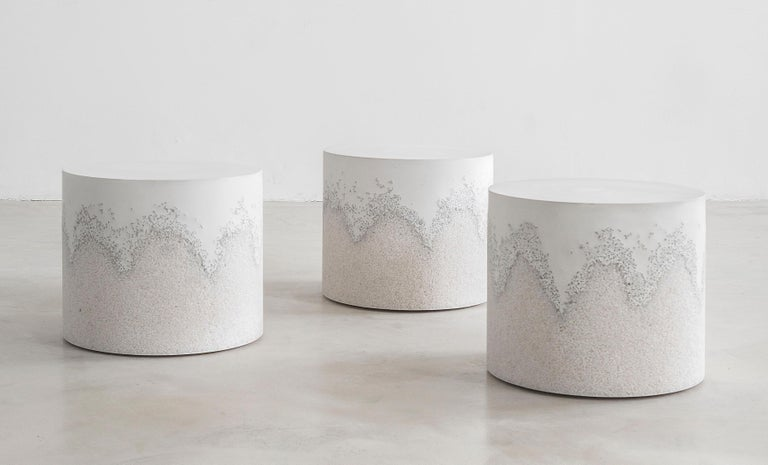 Cast Drum, White Cement and Crystal Quartz by Fernando Mastrangelo For Sale