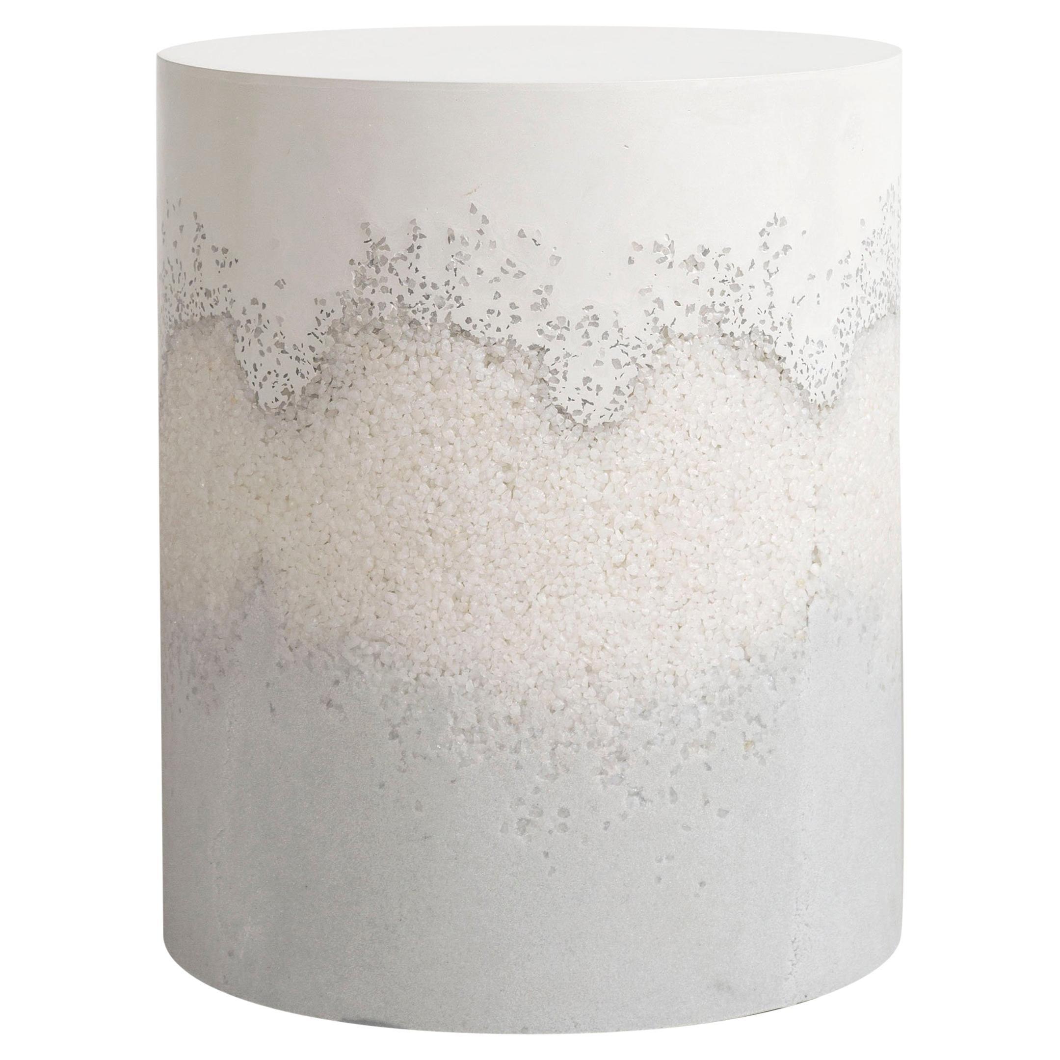 Drum, White Cement, Crystal Quartz and Grey Powdered Glass, Fernando Mastrangelo