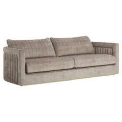 Drummond 2-Seat Sofa with Detailed Back and Antique Brass Colour Feet