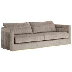 Drummond 3-Seat Sofa with Detailed Back and Antique Brass Color Feet