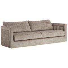Drummond 3-Seat Sofa with Detailed Back and Antique Brass Color Plinth