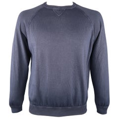 DRUMOHR Size L Navy Washed Effect Cotton Knit Pullover Sweater