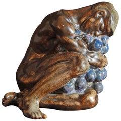 """""""Drunken Youth,"""" Male Nude Sculpture with Dark, Rich Glazes by Kai Nielsen"""