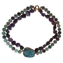 Druzy Agate Necklace Tourmaline Amethyst Gold-Plated