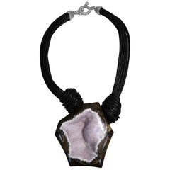 Stephen Dweck Druzy Geode and Multi-strand Black Leather Necklace