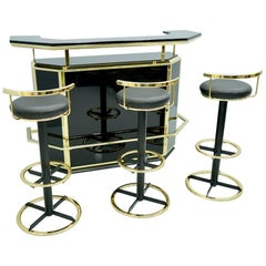 Dry Bar Counter with 3 Stools in Black Lacquer and Brass, France, 1980s