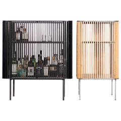 Dry Bar in Oiled Laser-Cut Steel Frame with White Oak Slats and Leather Top