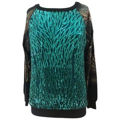Dry Clean Only green sequins deers blouse t-shirt