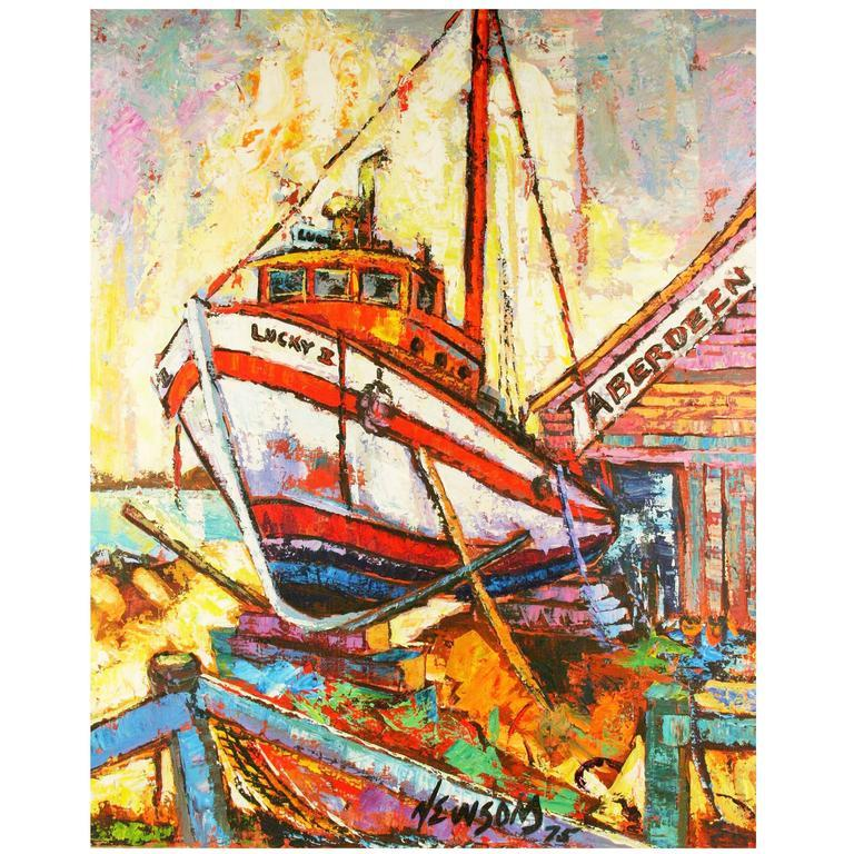 Late 20th Century Drydock  Nautical Painting by Newsom For Sale