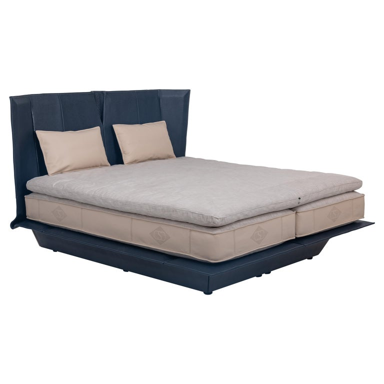 For Sale: Blue (NECK Paris) DS-1155 Tapered Leather Bed Frame and Headboard by De Sede