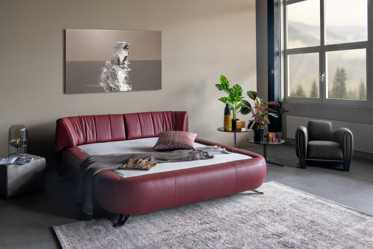 DS-1164 Leather Bed Frame with Adjustable Headboard by De Sede In New Condition For Sale In New York, NY