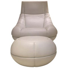 DS-166 White Swiveling Leather Lounge Armchair with Ottoman by De Sede