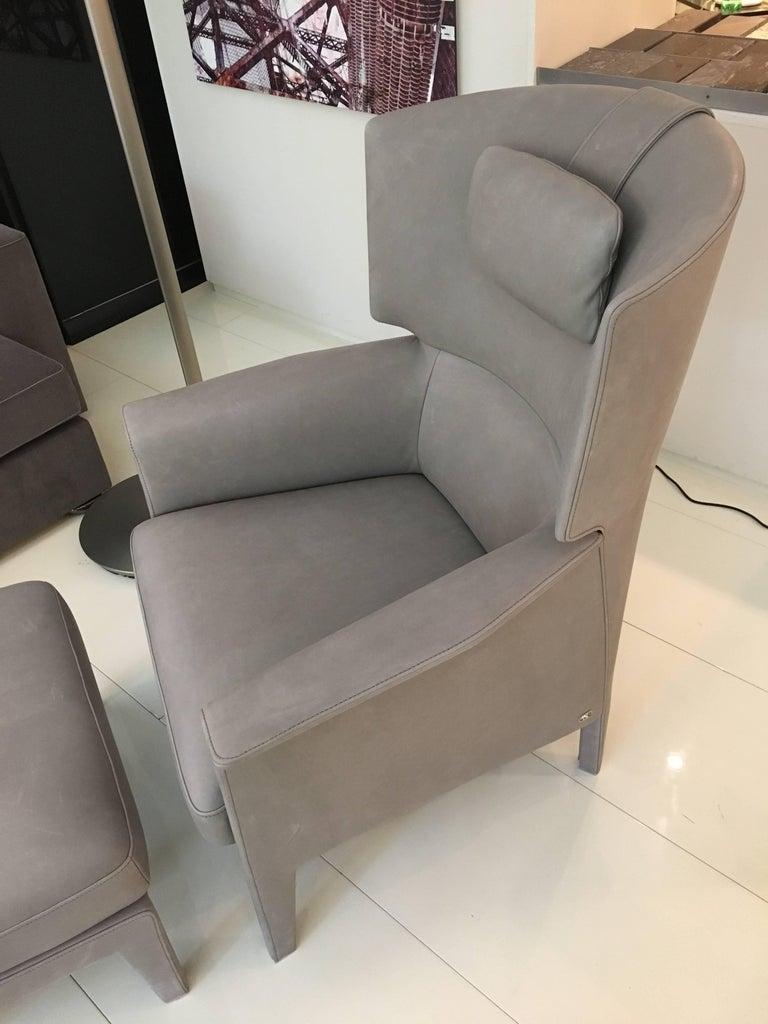 Modern DS-168 Light Grey Leather Wingback Armchair and Ottoman by De Sede For Sale