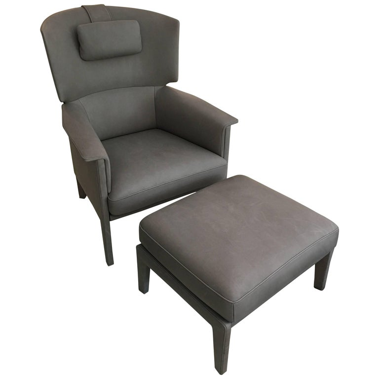 DS-168 Light Grey Leather Wingback Armchair and Ottoman by De Sede For Sale