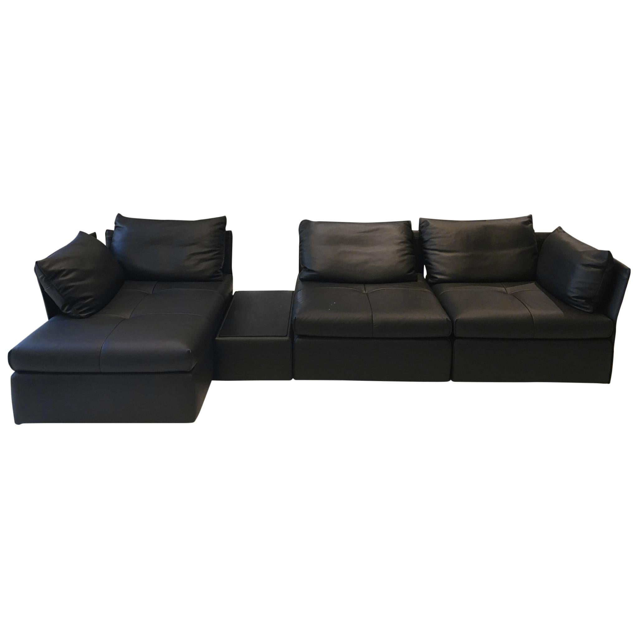 DS-19 Black Leather Modular Sectional Sofa with Black Oak ...