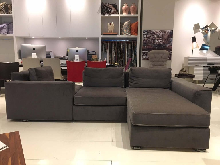 Modern DS-247 Grey Fabric and Leather Sofa Sectional with Swivel End Piece by De Sede For Sale