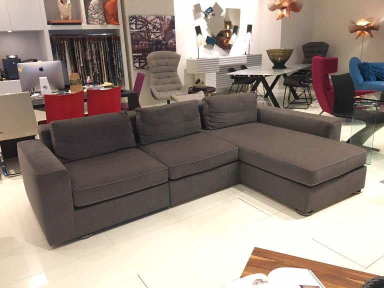 Swiss DS-247 Grey Fabric and Leather Sofa Sectional with Swivel End Piece by De Sede For Sale