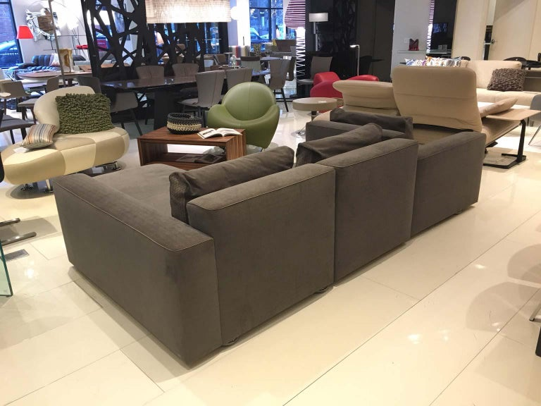 Woven DS-247 Grey Fabric and Leather Sofa Sectional with Swivel End Piece by De Sede For Sale