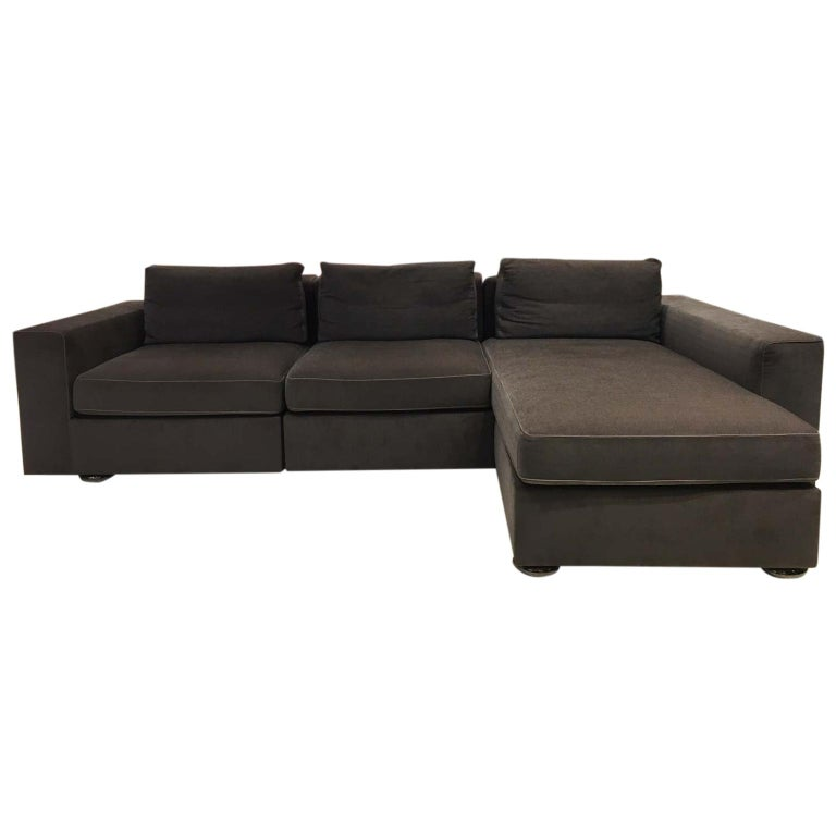 DS-247 Grey Fabric and Leather Sofa Sectional with Swivel End Piece by De Sede For Sale
