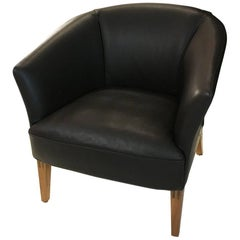 DS-292 Brown Leather Lounge Chair with Walnut Frame by De Sede