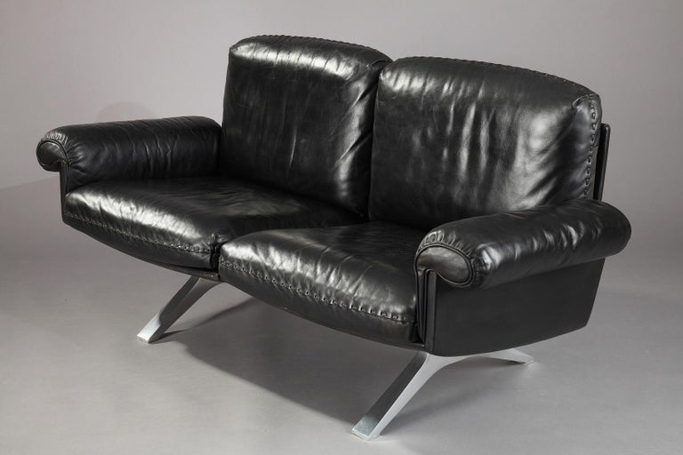 Swiss DS 31 Sofa, Swivel Lounge Armchair and Ottoman by De Sede For Sale