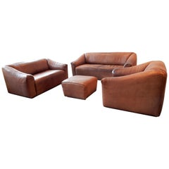 DS-47 Brown Leather Living Room Set by De Sede, Switzerland, 1970s