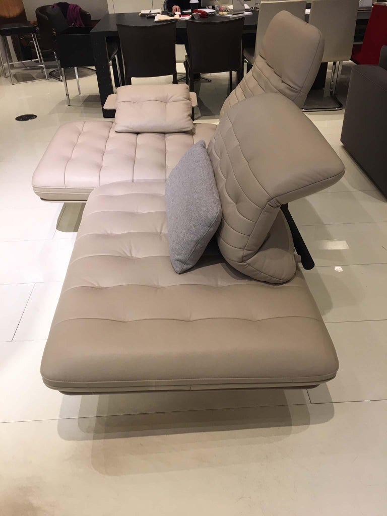 Ds 490 Functional Sofa Cream White Leather With Side Table