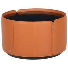 DS-5020 Cylindrical Leather Wide Side Table by De Sede