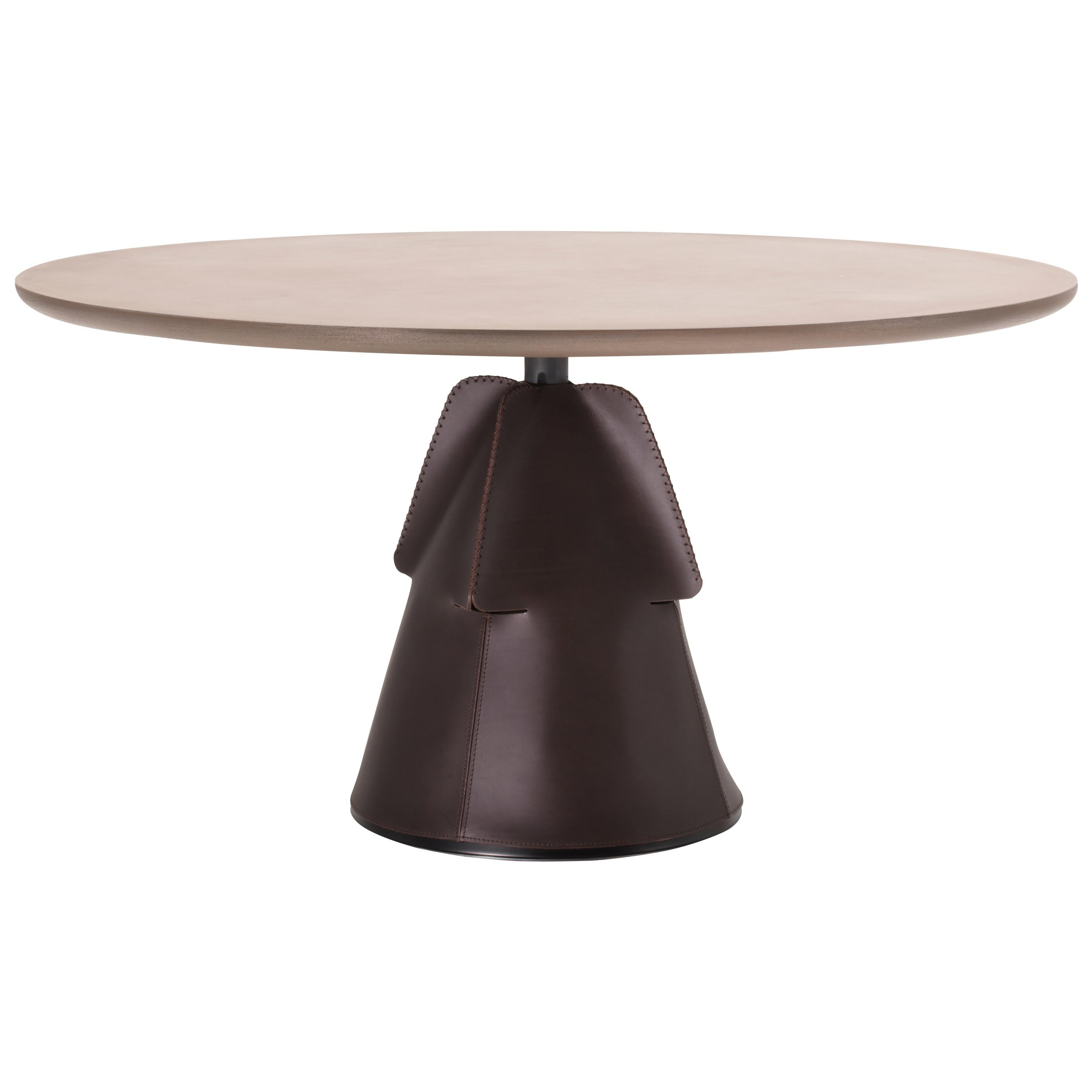 DS-615 Customizable Hand-Stitched Leather and Brass Coffee Table by De Sede