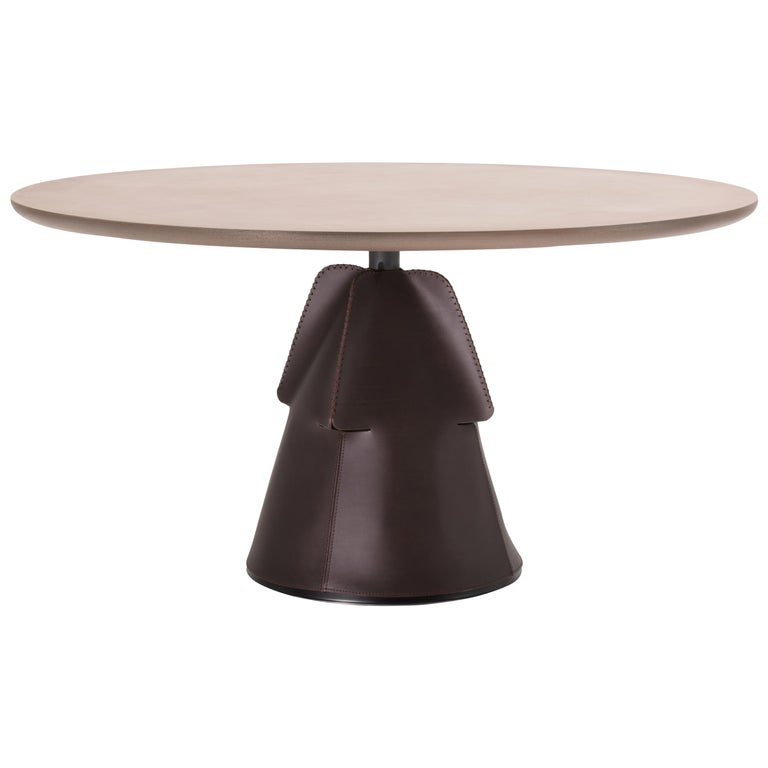 For Sale: Brown (TELA Metal Brass) DS-615 Customizable Hand-Stitched Leather and Brass Coffee Table by De Sede