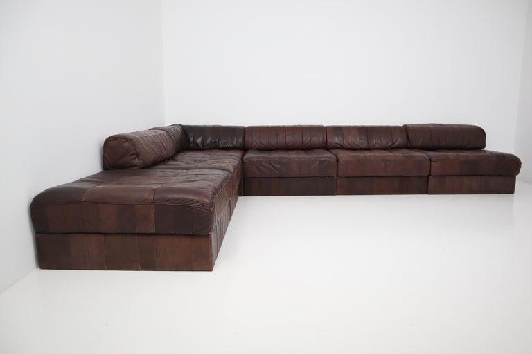 DS88 Modular Brown-Cognac Leather Patchwork Sofa for De Sede, Switzerland For Sale 5