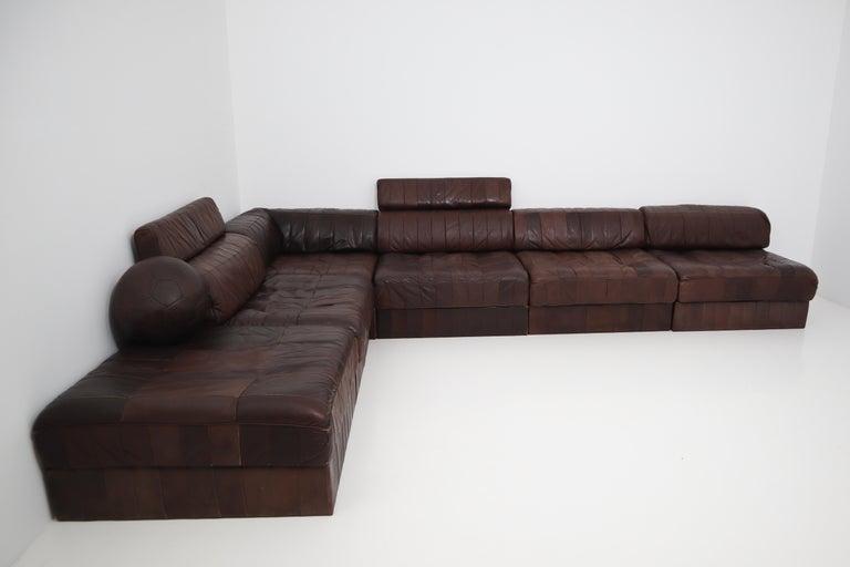 DS88 Modular Brown-Cognac Leather Patchwork Sofa for De Sede, Switzerland For Sale 6