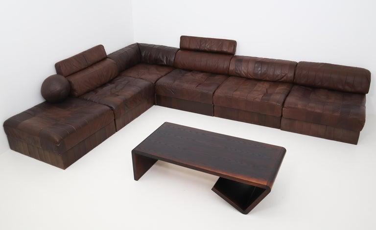 Mid-Century Modern DS88 Modular Brown-Cognac Leather Patchwork Sofa for De Sede, Switzerland For Sale