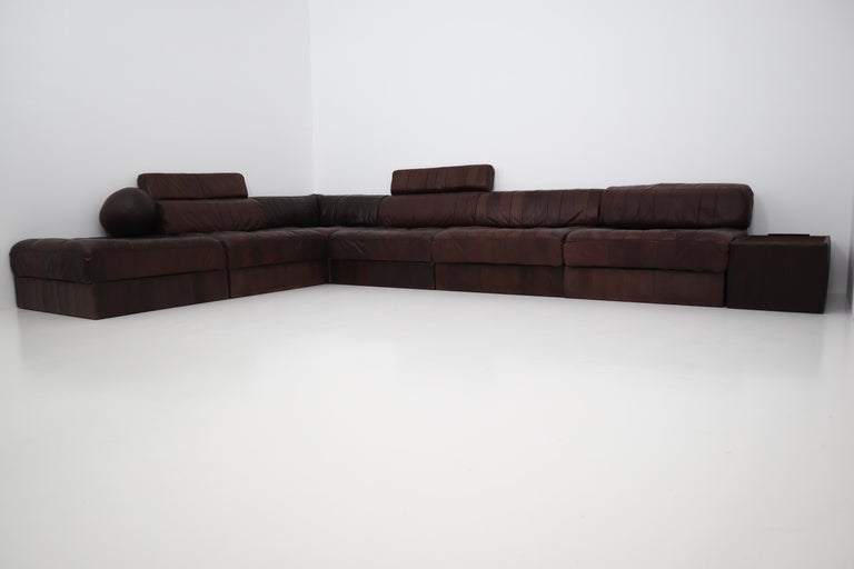 DS88 Modular Brown-Cognac Leather Patchwork Sofa for De Sede, Switzerland In Good Condition For Sale In Almelo, NL