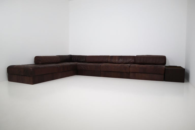 Late 20th Century DS88 Modular Brown-Cognac Leather Patchwork Sofa for De Sede, Switzerland For Sale