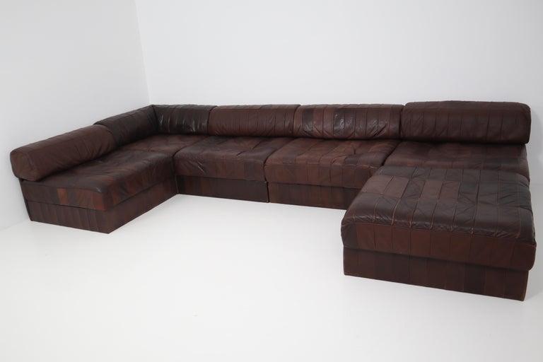 DS88 Modular Brown-Cognac Leather Patchwork Sofa for De Sede, Switzerland For Sale 1