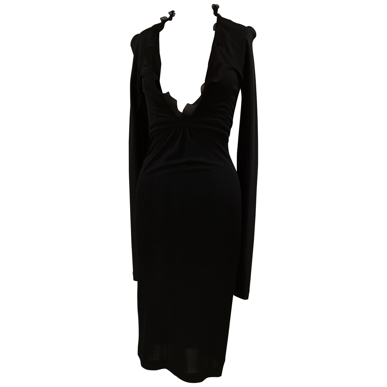 Dsquared black viscose long dress