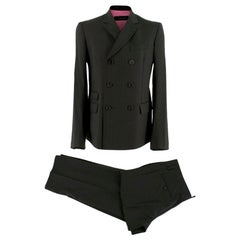 Dsquared² Black Pinstripe Double Breasted Asymmetric Suit - Size Large 50 IT
