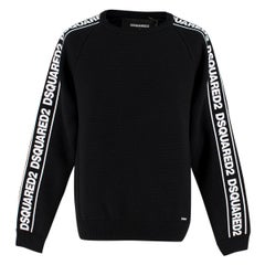 DSquared2 Black Tape Logo Sleeve Knitted Crew Neck Jumper M