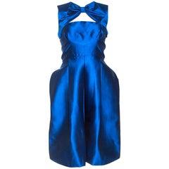 Dsquared2 Blue Silk Bow Neckline Balloon Hem Dress S
